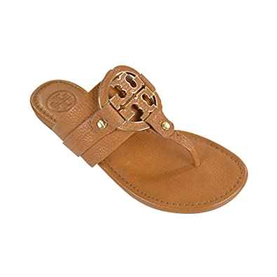 Tory Burch Amanda Flat Thong Tumbled Leather Sandal Flip Flop TB Logo Royal  TAN Beige (