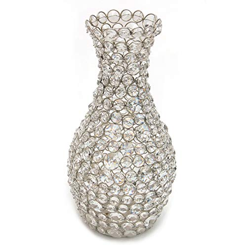 (Esca di Luce Genuine Crystal Flower Vase for Flowers, Decorative Centerpiece (Silver/Round))