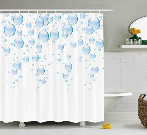 Ambesonne Abstract Shower Curtain by, Rain Water Drops Bubbles Liquid Purity Symbol Crystal Circles Artful Picture, Fabric Bathroom Decor Set with Hooks, 84 Inches Extra Long, Light Blue White