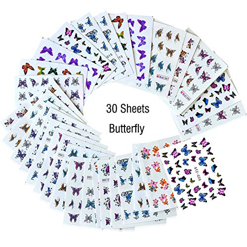 Lookathot 30Sheets Nail Art Stickers Decals Butterfly Design Pattern Water Sky Star Foil Paper Printing Transfer DIY Decoration Tools -