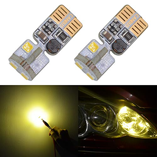 194 LED Bulb Canbus Error Free T10 W5W 168 194 2825 Yellow Bulbs for 12V Car Interior Dome Map wedge License Plate Lights(Pack of 2)