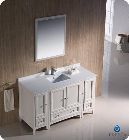 "Fresca Oxford 54"" Antique White Traditional Bathroom Vanity - Fresca Oxford 54"