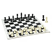 WE Games Best Value Tournament Chess Set - 90% Plastic Filled Chess Pieces and Black Roll-up Vinyl Chess Board