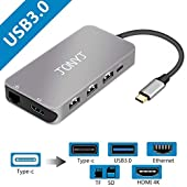 Thunderbolt 3 USB C Hub/Adapter, JONYJ 9-in-1 Type c Mcbook Pro Hub with 4K HDMI/Type C Charging/1000 Ethernet Port, 3 USB 3.0 Ports, SD & TF Card Read for MacBook Pro 2015/2016,Chromebook and more