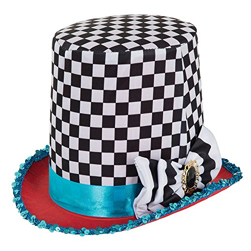 Bristol Novelty BH652 Stovepipe Mad Hatter Chequered Hat, Multi-colour, One Size ()