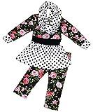 Girls 3 Pieces Dress Set Floral Legging Pants Scarf Clothing Set Black 2T XS (317602)