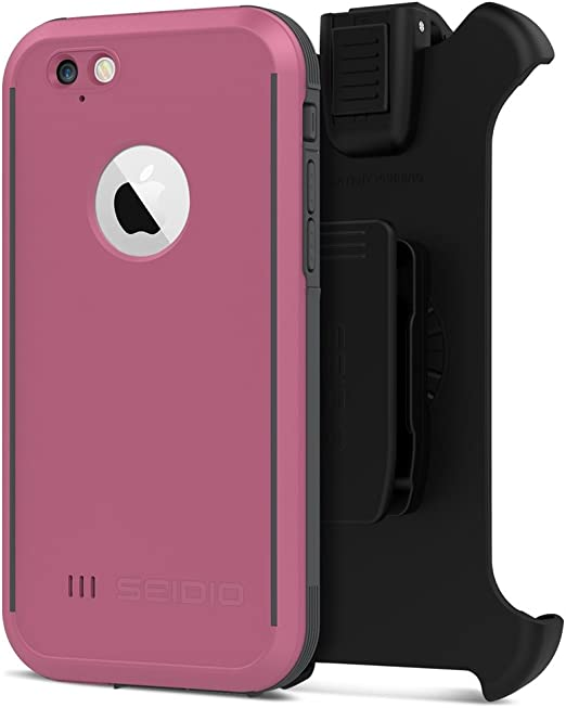 Amazon Com Seidio Obex Waterproof Case And Removable Belt Clip Holster Combo For The Iphone 6 6s Drop Proof Retail Packaging Pink Gray