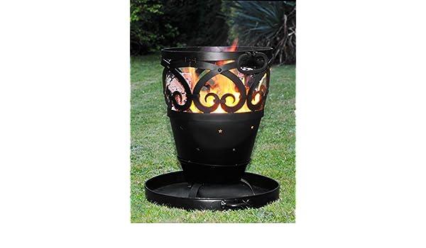 Estrellas & Scrolls diseño hierro forjado quemador de leña/barbacoa/Fire Pit incluye bandeja de ceniza y parrilla: Amazon.es: Jardín