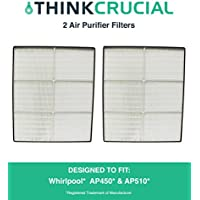 2 Whirlpool 1183054K (1183054) HEPA Filters Designed To Fit Whispure Air Purifier Models AP450 and AP510 AP45030HO; Compare To Whirlpool Part # 1183054, 1183054K, 1183054K Large, 1183054K Grand Format; Designed & Engineered By Crucial Air