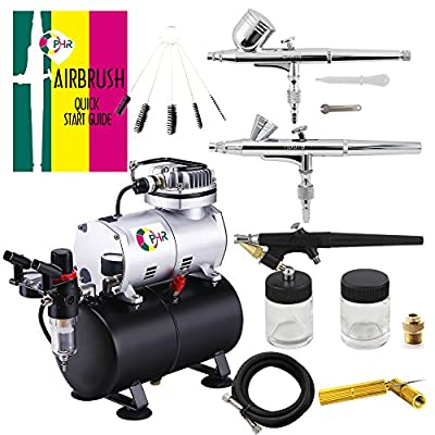Ophir Airbrush Kit Airbrushing System with Compressor Tank for Model Hobby Crafts 3 Airbrushes
