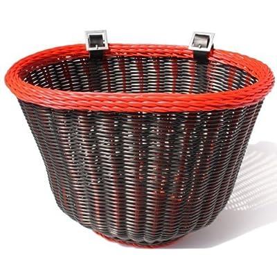 Colorbasket 01358 Adult Front Handlebar Bike Basket, Black with Red Trim by Colorbasket