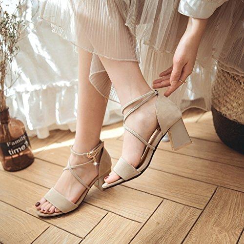 Moyen Lanière Beige Soirée Sandales Moderne Ouverte Eté Femme Sexy Chaussures OALEEN Croisé Talons qwR1AXFqx