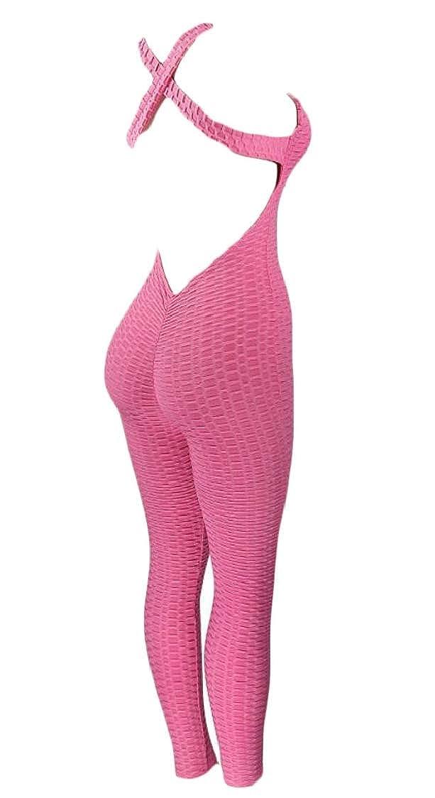 Pandapang Womens Sport Keyhole Halter Plaid Backless Bodysuit Jumpsuits