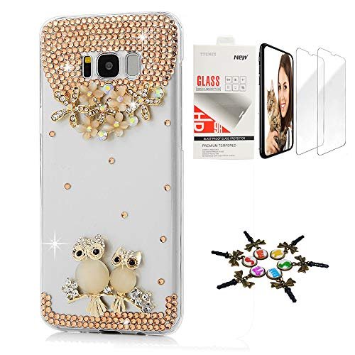 STENES Galaxy Note 8 Case - STYLISH - 3D Handmade [Sparkle Series] Bling Sweet Night Owl Flowers Floral Design Cover Compatible with Samsung Galaxy Note 8 with Screen Protector [2 Pack] - champagne (Samsung Galaxy Note 2 Covers Owls)