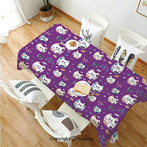 (Cat Rectangle Polyester Tablecloth,Doodle Cartoon Design Lovely Baby Kittens Pattern Ornate Hearts Swirls Circles Artwork Decorative,Dining Room Kitchen Rectangle Table Cover,52W X 72L inches,Multicol)