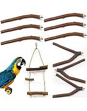 10Pcs Natural Wood Bird Perch Stand Set, Parrot Stand Perch Platform, Pet Bird Swing Toy for Budgies Cockatiel Parakeet Lovebirds