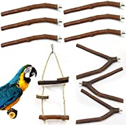 10Pcs Natural Wood Bird Perch Stand Set, Parrot Stand Perch Platform, Pet Bird Swing Toy for Budgies Cockatiel