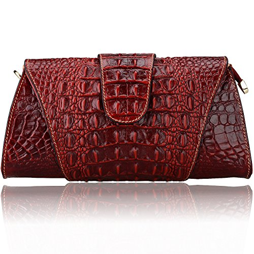 Pijushi Croco Embossed Leather Clutch Bag Cross Body Handbag 8062 (One Size, Red) by PIJUSHI