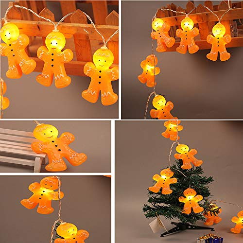 Simplylin Christmas Gingerbread Men String Lights 3D Gold Plastic 64 Inch Indoor Lighted,LED Biscuit Cartoon Villain String Light String (1.2m10led) (Lights Man Gingerbread)