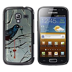 Design for Girls Plastic Cover Case FOR Samsung Galaxy Ace 2 Key Metaphor Deep Gray Grey OBBA
