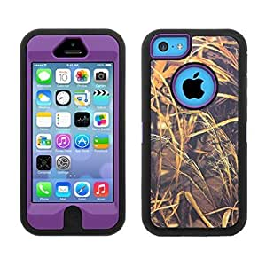 Rugged Heavy Duty Dual Layer Hybrid Straw Camo 3 Pc Case for Iphone 5c Built in Screen Protector (PURPLE)
