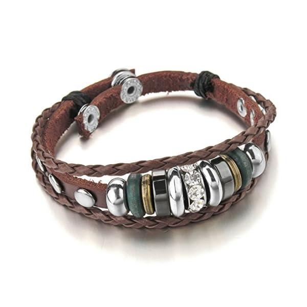INBLUE Men,Women's Alloy Genuine Leather Bracelet Bangle CZ Brown Black Adjustable Tribal
