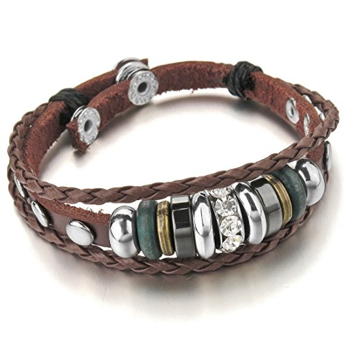 Reviews/Comments INBLUE Men,Women' Alloy Genuine Leather Bracelet Bangle Brown Adjustable Tribal