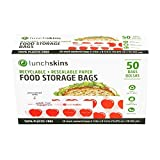 Lunchskins Recyclable + Resealable Paper Food Storage Bags Sandwich Size, Apple Box of 50