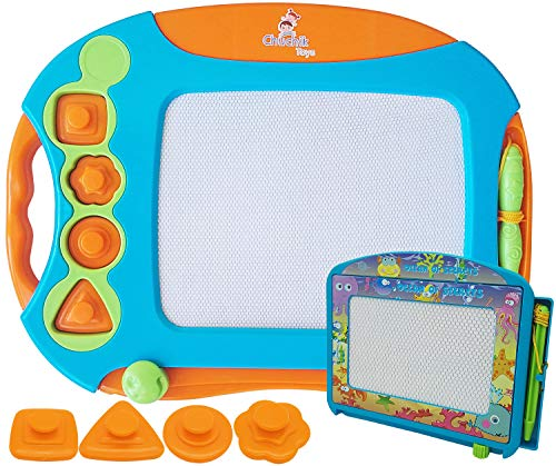 CHUCHIK Toys Magnetic Drawing Board for Kids and Toddlers. Large 15.7 Inch Doodle Writing Pad Comes with a 4-Color Travel Size Doodle Sketch -