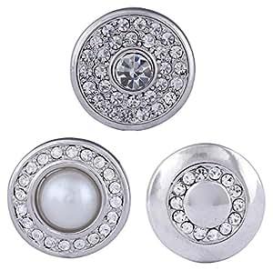 Morella mujer Click-Button Set 3 pcs de presión perlay