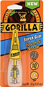 Gorilla Super Glue Brush & Nozzle, 10 g, Clear