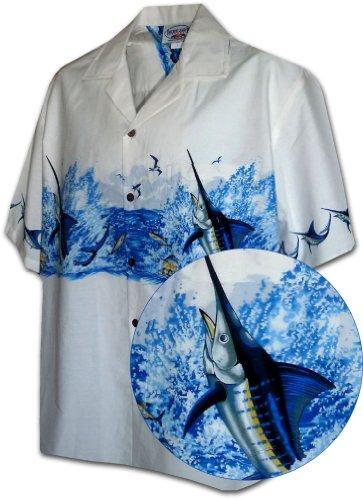 Marlin Fishing Men's Tropical Shirt White XL (White Marlin)