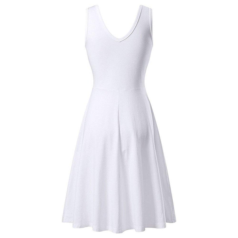 LIM&Shop  Women's Casual Plain Scoop Neck Fit and Flare Knee Length Dress White