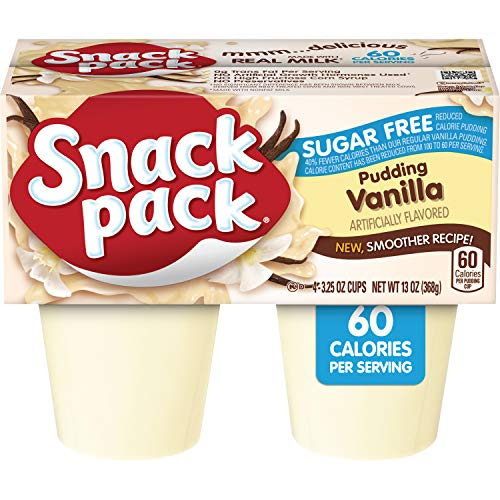 Snack Pack Sugar-Free Vanilla Pudding Cups, 4 Count, 12 Pack ()