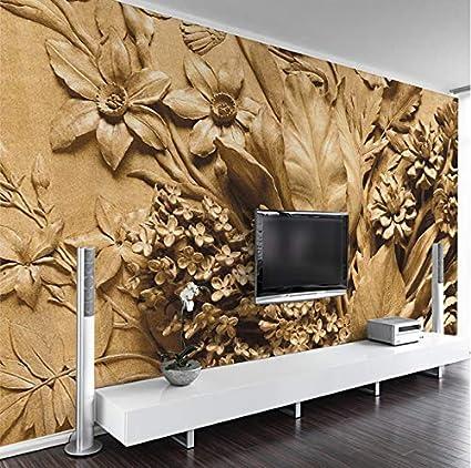 3D Stickers Wall Decorations Wallpaper Murals Golden Flower Relief