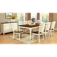 Furniture of America Pauline 9-Piece Cottage Style Dining Set, Vintage White & Dark Oak Finish