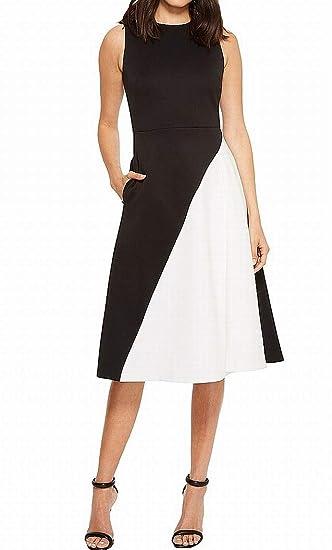 Calvin Klein Womens Color Block Scuba A Line Dress Cd8m53jv Black