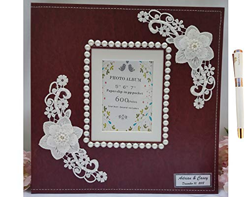 (Towdah Perez Pearls and lace Family Wedding Album. Wine red Leather Cover 600 Pockets memo Album. Holds 3.5x5, 4x6, 5x7 Photos with Gift Box & Luxury White/Gold Pen (Pearl/Lace Flower))