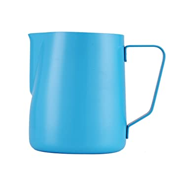 Jarra de leche para máquinas de café espresso, 600 ml, leche para taza de capuccino, baristas y arte de cafés azul: Amazon.es: Hogar