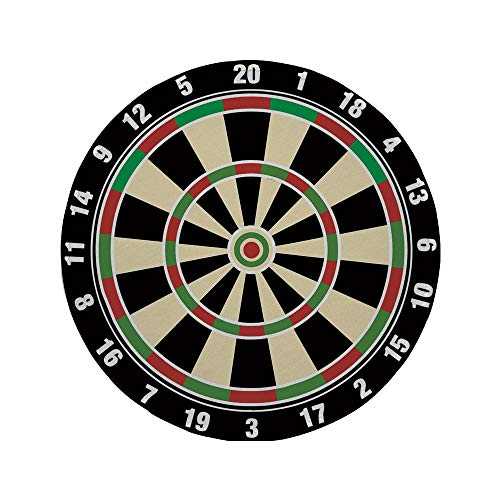 """Non-Slip Rubber Round Mouse Pad,Sports,Dart Board Numbers Sports Accuracy Precision Target Leisure Time Graphic,Vermilion Green Black,11.8""""x11.8""""x3MM"""