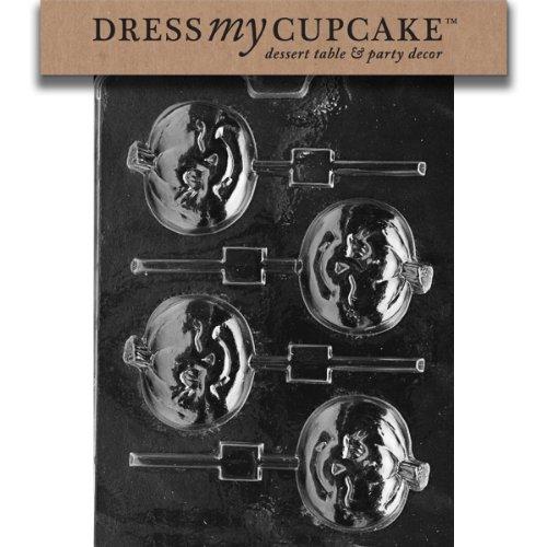 Dress My Cupcake DMCH106SET Chocolate Candy Mold, Winking Pumpkin Lollipop, Set of 6 -