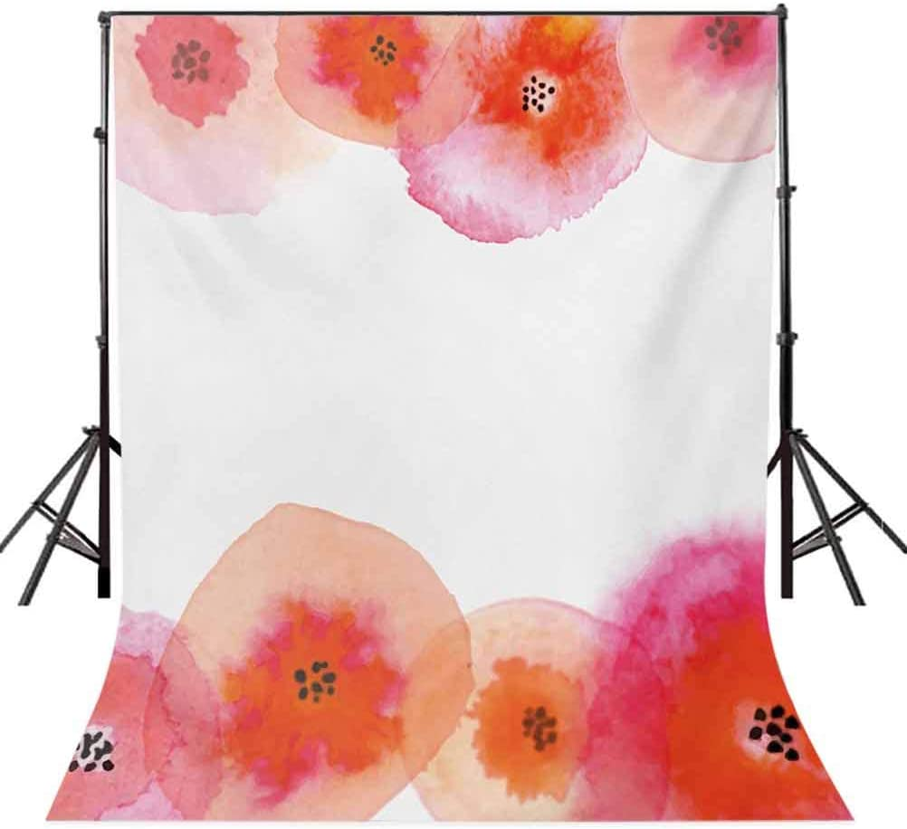 Orange and Pink 6.5x10 FT Photography Backdrop Watercolor Style Flowers with Brush Marks Romantic Composition Background for Baby Shower Bridal Wedding Studio Photography Pictures