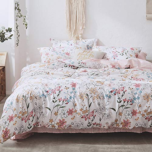 VKStar Cotton Duvet Cover Set Full/Queen Women Floral Garden Style Bedding Sets Teenagers Chic Duvet Cover Zipper Closure with 2 Pillowcases Kids/Adults Blooming Flowers Quilt Cover Set Queen from VKStar