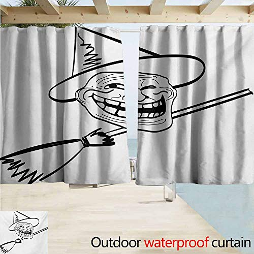 Outdoor waterproof curtains,Humor Halloween Spirit Themed Witch Guy Meme Lol Joy Spooky Avatar Artful Image Print,Rod Pocket Energy Efficient Thermal Insulated,W72x45L Inches,Black and White
