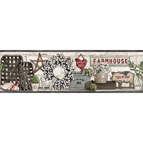 York Wallcoverings Farmhouse Shelf Border - Black |Spray with Water and Hang | Ultra Easy