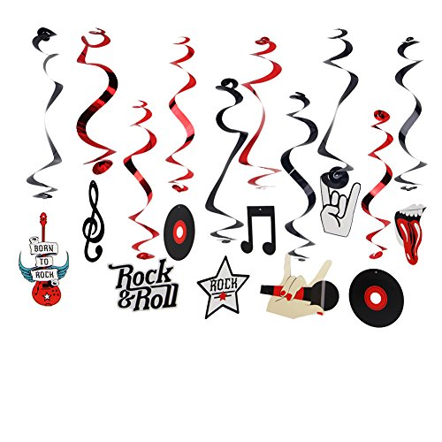 Rock & Roll Theme Party Foil Swirl Decorations Rock Star Music Party Hanging Ceiling Decoration 10 Piece Multi Color ()