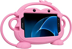 Kids Case for Samsung Galaxy Tab 3/3 Lite/4/E Lite 7.0 inch Tablet - CHINFAI [Double-Faced Monkey Series] Shock Proof Handle Stand Protective Cover Compatible with Model P3200 SM-T230 SM-T113 (Pink)