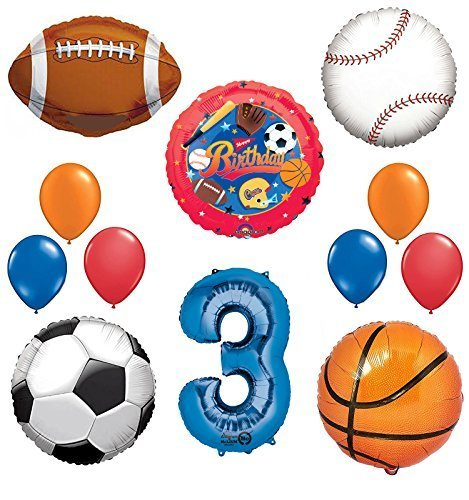 The Ultimate Sports Theme 3rd Birthday Party Supplies and Balloon Decorating Kit
