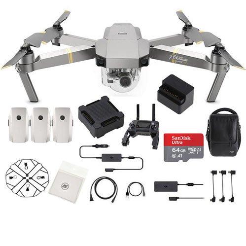 DJI Mavic Pro Platinum Fly More Combo Collapsible Quadcopter Drone Bundle (Latest Version)