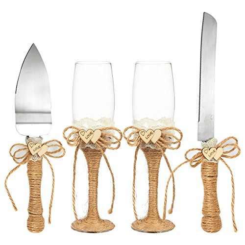 4-Piece Wedding Supplies - Cake Knife, Pie Server Set and Wedding Champagne Glasses Set, 2 Toasting Champagne Flutes, 1 Pie Server and 1 Cutting Knife, Rustic Bride Groom Gifts with Jute Handles ()